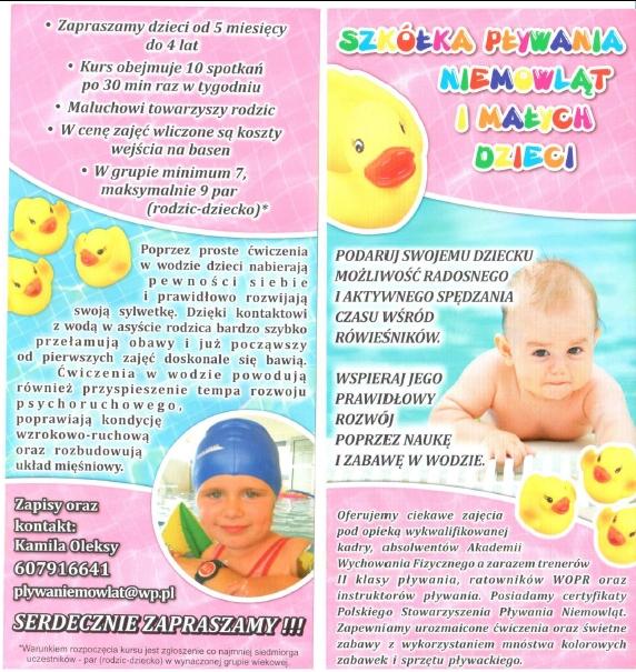 Ilustracja do informacji: Szkółka pływania niemowląt i małych dzieci